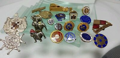20 PIN LOT SERVICE AWARDS FRATERNAL MOTTO AUTO MACK IH ARMY UNION Sterling GF