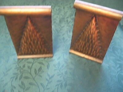 Vintage  Hammered Copper Arts & Crafts Bookends Pyramid Shape