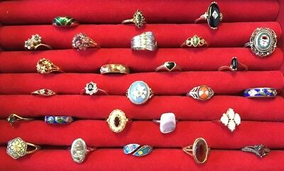 ⭐  FUN LOT OF 27 RINGS Sterling Gold Fill COSTUME VINTAGE~MODERN COCKTAIL