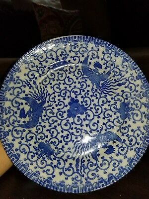 "Vintage Antique Japanese Blue And White Peacock Plate - 10"" - Stamped"
