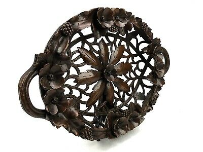 Antique Black Forest Carved Wooden Fruit Basket / Bowl / Tray / Highly Detailed