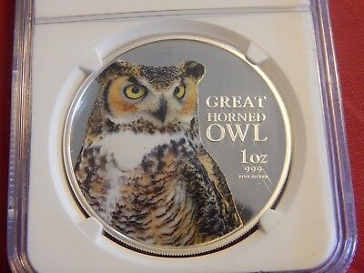 2013 1 oz. $2 Niue Birds of Prey – Great Horned Owl Colorized PF70 UC