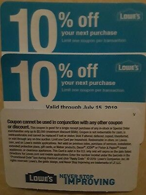 Four Lowes 10% off Coupons Good For Use Only at Home Depot exp 07/15/2019 $4.99