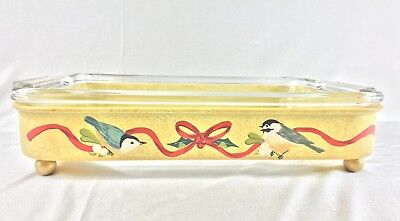 Lenox Winter Greetings Everyday Rectangular Glass Baker w/Metal Stand Near Mint