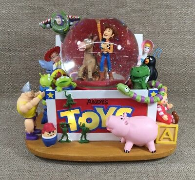Vtg Disney Store Toy Story Andy'S Toy Box Light Up Music Box Water Globe Works