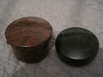 2 Vintage Small Bakelite Containers Screw Top Lids Foot Soap & Brown Mottled