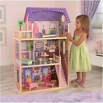 WOODEN DOLLHOUSE MANSION Realistic 8 Rooms Majestic Doll Playset Elevator FUN