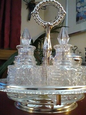 A Vintage Silver Plated Cruet Set /queen Anne
