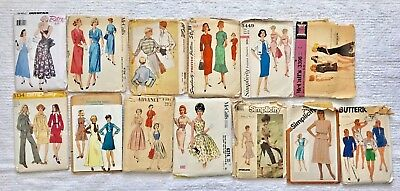 Lot of 13 Vintage 40s 50s 60s Sewing Dress Patterns - Complete Instructions