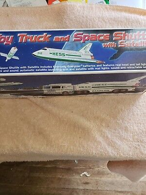 1999 Hess toy truck and space shuttle with satellite