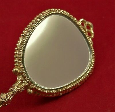 Vintage Small Hand Held Toy Doll Victorian Ornate Mirror