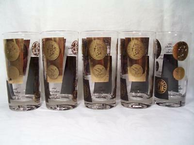 MCM Gold Coin Drinking Glasses 5 pc. lot CERA Barware 1960's Coin Collector