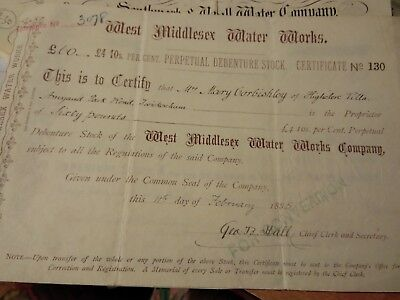 WEST MIDDX Water Works Share Cert 1885 Corbishley Amyand park Twickenham