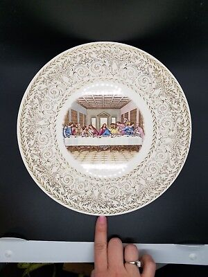 """Vintage """"The Last Supper"""" Wall Plate With Gold Embellishments 10.5"""""""