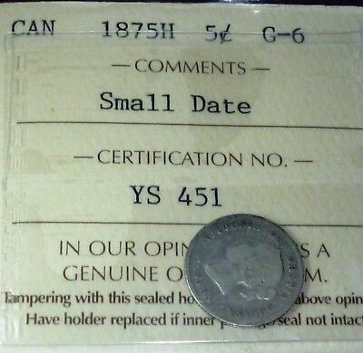 1875H  (Small Date) Canada 5 Cents - Key Date Silver Coin