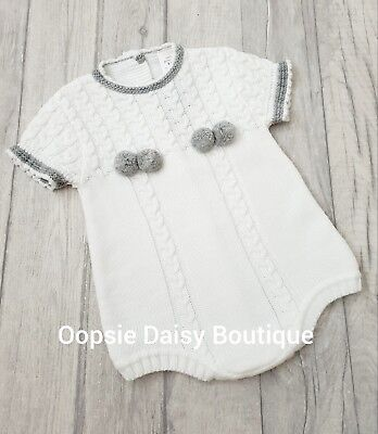 Boys Girls Gorgeous White/Grey Spanish Knitted Pom Pom Romper  ☆