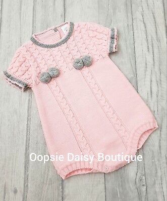 Girls Gorgeous Pink & Grey Spanish Knitted Pom Pom Romper ☆