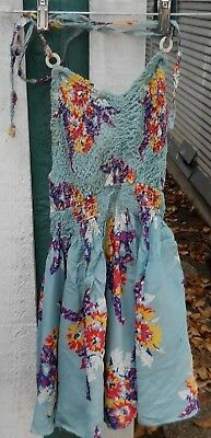 Vintage 50's Women's Rayon  Blue Floral One Piece Bathing Suit Size Small