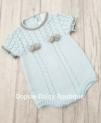 Boys Girls Gorgeous Blue/Grey Spanish Knitted Pom Pom Romper ☆