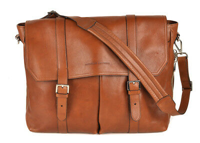Brunello Cucinelli Large Brown Grained Leather Expandable Messenger Bag~RTL$2245