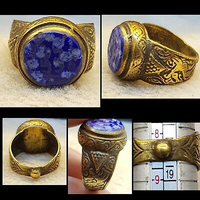 Wonderful Old Brass Gold Cover Vintage Ring With Ancient Lapis lazuli Stone  #6x