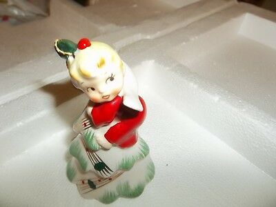 1957 napco CHRISTMAS ANGEL ON TREE BELL ornament VINTAGE BLOND HTF NR