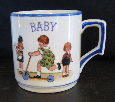 Vtg Antique 20s BABY Child's Porcelain Cup Mug~Made in Checko-Slovakia Dime Mark