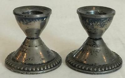 2 Vintage Duchin Creation Sterling Silver Weighted Candle Stick Holders Pair
