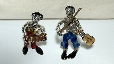 Lot of 2 Sorini Enamel Clowns sterling silver 105 AR - PIRELLI Gadget RARE