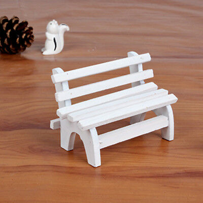 Miniature Garden Long White Chair Model Doll Toy Wood Art Collectible Gift G