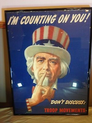 """1943 Original FRAMED WWII UNCLE SAM """"I'm Counting on You!"""" Poster! READY 2 HANG!"""