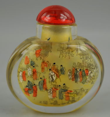 Chinese Fine Collect Decor Glass Inside Paint Bustling Street Rare Snuff Bottle