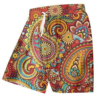 Men 3D Shorts Graphic Rubic Illusion Printed Beach Casual Shorts Pants Trousers