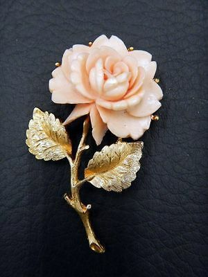 Vintage Brooch Pin Coral Colored Carved Resin Flower w/ Layered Petals