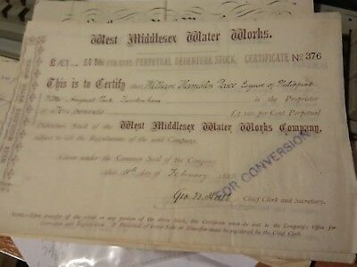 WEST MIDDX Water Works Share Certificate 1885 HAMBLIN AMYAND PARK TWICKENHAM