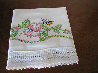 Vintage Single Pillowcase Embroidered & Crocheted Garland Of Roses & Asters Wow