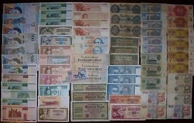 Lot of 69 different world banknotes