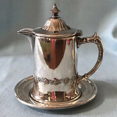 Pairpoint Quadruple Silverplate Syrup Cream Pitcher and Original Stand (2 Pcs)