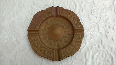 """Vintage Metal Hand Crafted Indian Signed Ashtray 19cm 7.5"""""""