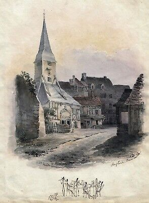 Unusual antique 19th century watercolour of Honfleur scene, France, initialled