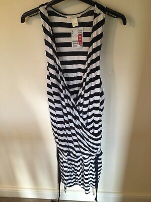 H&M Maternity Playsuit, Navy Blue And White Striped. Brand New