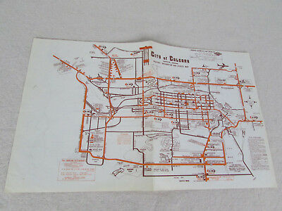 1970 Gray Line Bus Tours City Of Calgary Alberta Canada Visitor's Info & Svc Map