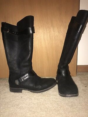c12fc60eebc UGG AUSTRALIA DAYLE Stud Moto Riding Boots Black Leather Knee High ...