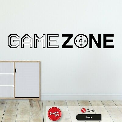 Game Zone Gaming Wall Art Sticker  Boys Girls Kids Gamer Bedroom Decal