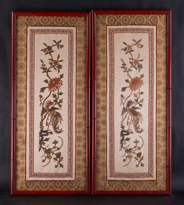 A Pair Of Early 20th Century Chinese Embroidery On Silk