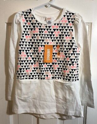 Gymboree Girls Long Sleeve Shirt Blue and Pink Triangles Size 6 New with Tags (k