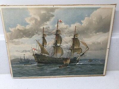 W Fred Mitchell Print, Engraved 1860. Battleship, 1650