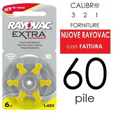 NEW 60 batterie RAYOVAC 10 EXTRA PR70 pile apparecchi acustici GIALLE protesi