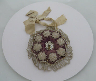 Small Victorian Style Beadwork Pocket Watch Holder ? With Mother Of Pearl Centre