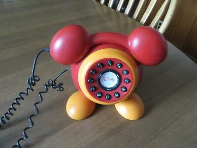 """DISNEY Red  """"MICKEY MOUSE"""" Push Button TELEPHONE"""